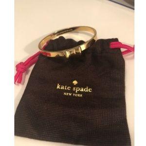 Kate Spade Bow Bangle Bracelet Gold w Gift Pouch